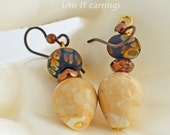 Urn shaped Earrings - magnesite, raku lampwork, and Czech Crystal - Urn It