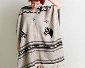 Vintage Horse Poncho - Beige and Chocolate Brown Woven Cape Jacket - Autumn Fall Fashion