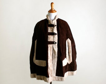 1970s Suede Poncho Coat - Vintage Chocolate Brown Beige Winter Cape - Leather Faux Fur