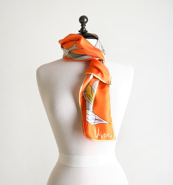 Vintage Vera Scarf - Silk Graphic Abstract Bird Print Gold Collection