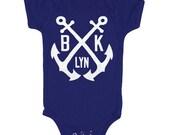 Brooklyn Anchor - Baby One Piece Bodysuit New York NYC Nautical Navy Yard Anchors Cute Adorable Romper Jumper Navy Blue Onesie