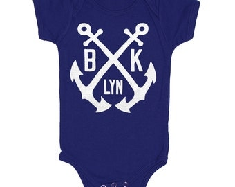 Brooklyn Anchor - Baby One Piece Bodysuit New York NYC Nautical Navy Yard Anchors Cute Adorable Romper Jumper Navy Blue Onesie