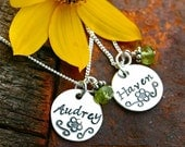 Handstamped Jewelry - Sterling Necklace with Gemstone Dangle