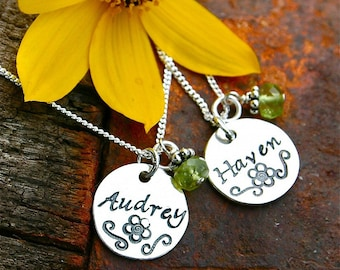 Hand Stamped Jewelry - Sterling Necklace with Gemstone Dangle
