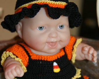Crochet outfit for  8 inch Lots to Love Berenguer Doll  Candy Corn Witch Halloween