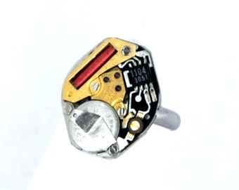 Steampunk Cyber Ring with Vintage Digital Quartz Watch Movement by Velvet Mechanism