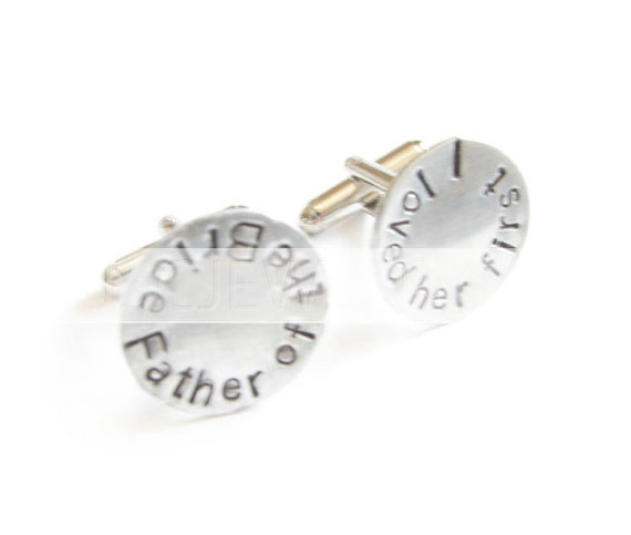 Father of the Bride Cufflinks, Hand Stamped Cufflinks, Wedding Cufflinks, Personalized Cufflinks, sterling silver brass
