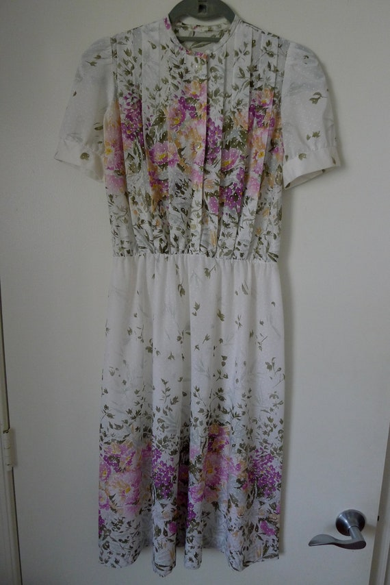 vintage painted floral sheer carrie daydress s/m