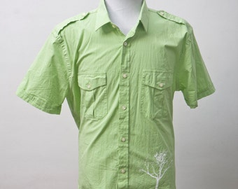 XL Upcycled Short Sleeve Shirt with Screen Printed Tree