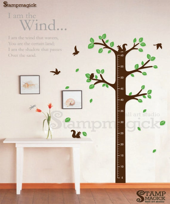 growth chart wall decal nursery tree vinyl wall decor