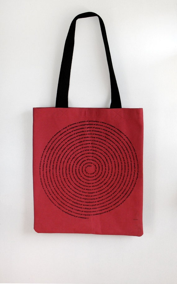 Cyber Monday Etsy Black Friday Etsy - Collective Animal Nouns Tote Bag in Red Denim, eco friendly, stocking stuffer