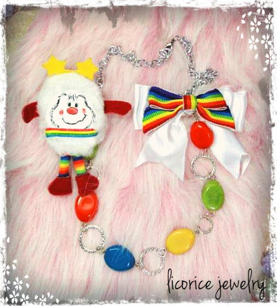 Twink Rainbow Brite Swag Statement Necklace Vintage 80s brooch hair clip  lolita white bow doll harajuku japan urban tokyo