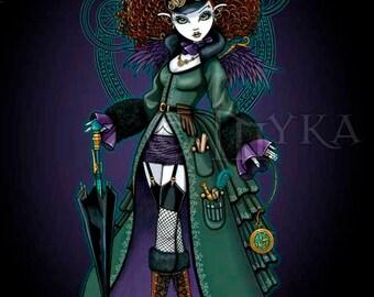 Temple Victorian Steampunk Vampire Angel Signed Myka Jelina Art Print V.2