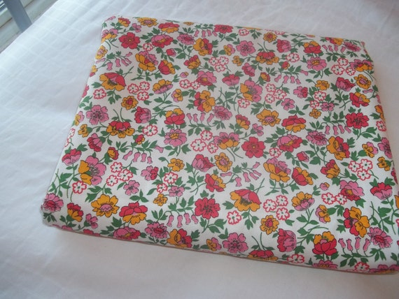 RESERVED FOR Musicalholiday Vintage Fabric Bright Pink Yellow Floral Pattern 44 x 3 yards