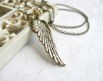 Angel wing necklace, feather, brass, nature jewlery