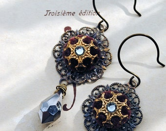 Lady Marianne - Medieval style velvet button earrings with hematite facet drops in steel grey and dark burgundy whine or oxblood red velvet