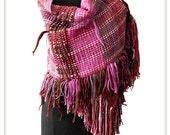 Half-off SALE- BARROQUE -  handwoven shawl scarf wrap poncho - in violet pink - (Barroca I09/022)