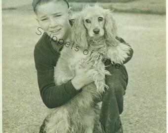 Boy in Felt Beanie & Blonde Cocker Spaniel 1950s Black and White Photo