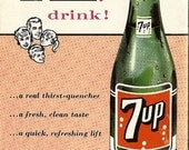 Vintage 1957 Seven Up Cookbook, Fish, Ham, 7-Up Broncos, Baked Beans, Angel Food Cake, Party Punch,  Handy Hints Retro 1950's Recipes Food