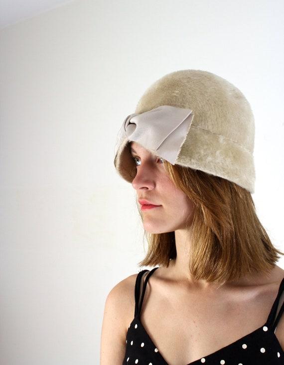 Fur Hat - 1950s Cloche Hat