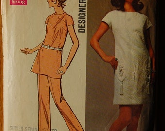 """1970s vintage original Simplicity 8679 sewing pattern for dress, tunic, pants, bust 32 1/2"""""""