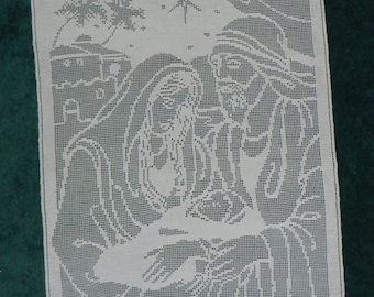 Mary, Joseph, and Baby Jesus Filet Crochet Pattern