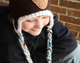Aqua and Brown Owl Hat for 6 - 12 year olds