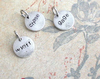 Boyfriend Girlfriend Name Charms. 5 letters. Mini Disc. Custom, Personalize, Monogram, Love, Initials, Party Favor. Mother's & Father's Day