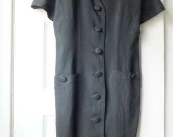 1980s black linen shift / 80s button up black dress / Ann Taylor short sleeved LBD