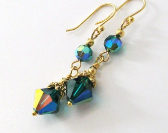 Emerald Green Iridescent Aurora Borealis Crystal Earrings, Repurposed Vintage 12mm Swarovski Crystals, Dangle, Drop