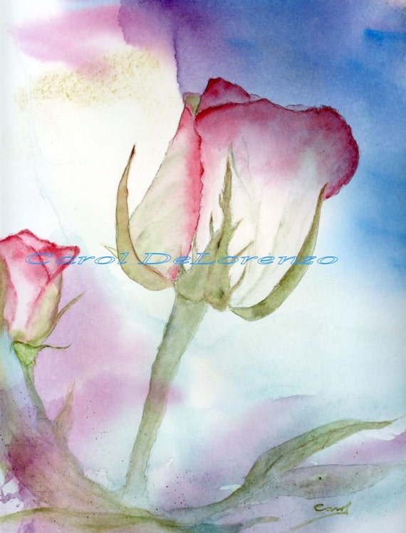 Items similar to watercolor painting rose art rose for How to paint a rose watercolor