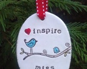 inspire - personalized christmas tree ornament, teacher gift, made to order