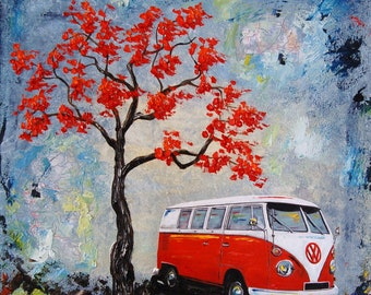 Red Volkswagen Camper Bus print 12x12, father day, gift, present