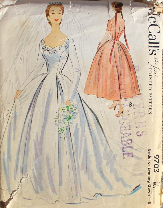 1950s mccalls wedding or bridal dress gown vintage sewing for Wedding dress patterns mccalls