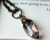 Candlelight Pink Pendulum Necklace, Pink Candlelight, Glass Bead, Antiqued Brass Chain