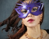 SALE--Wildcat leather mask in purple