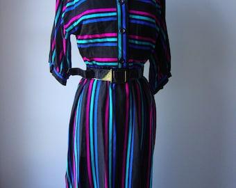 Sale vintage 1970s dress // colorful striped dress