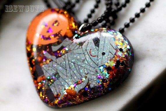 Statement Jewelry for Halloween - Mummy & Me Necklace - giant resin glitter heart Halloween pendant necklace OOAK big unique bling handmade