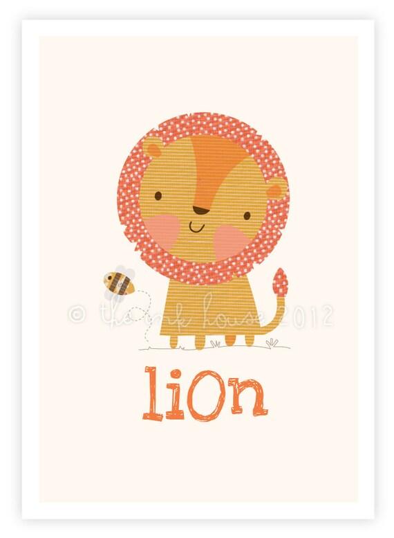 Lion print animal nursery wall art illustration kids