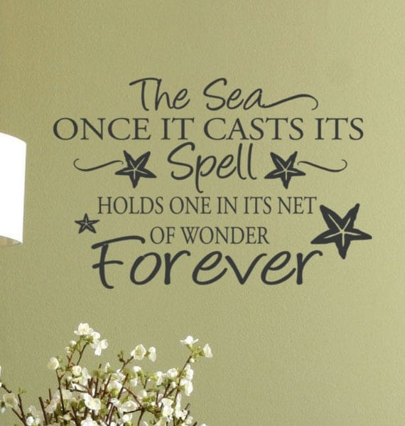 Beach decor wall decal words the sea quote with starfish