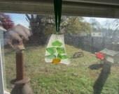 Delaware Bay Beach Glass Christmas Tree Ornament Suncatcher Frosty White and Green