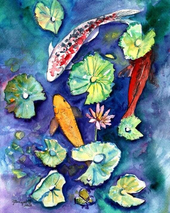 Three lucky koi fish print 8x10 orange red blue by kauaiartist for Lucky koi fish