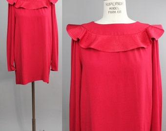 Albert Nipon mini dress |  vintage cape collar party dress |  lipstick red mod tunic  |  S/M