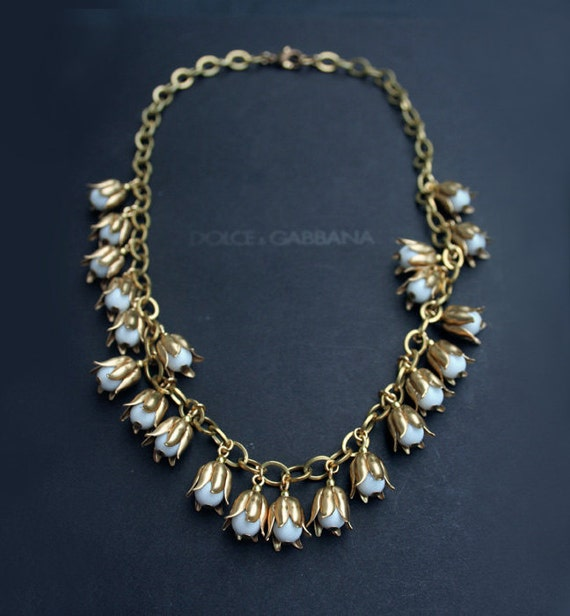 Lily of the valley flower necklace gold floral statement necklace