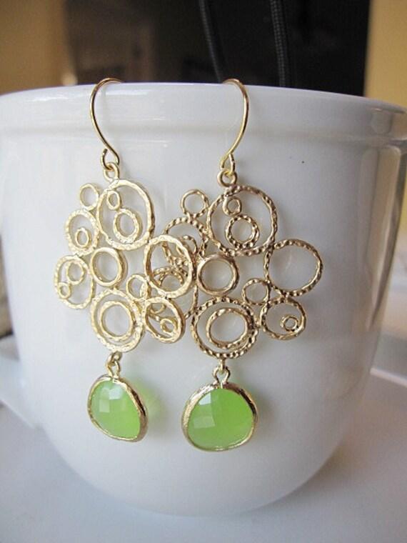 Bohemian Apple Green Earrings, Gold Circle Chandelier, Green Glass, long earrings, Bridesmaid Earrings, Wedding Jewelry.
