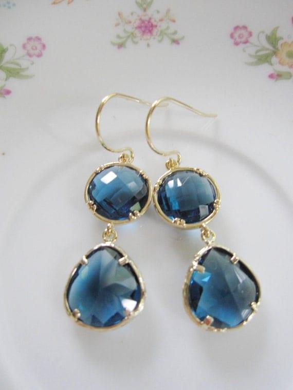 Sapphire Dangles, Gold Earrings, Sapphire Drop Earrings,Gold Earrings, Blue Earrings, Blue Stone Drops, Wedding Earring, Bridesmaid Jewelry