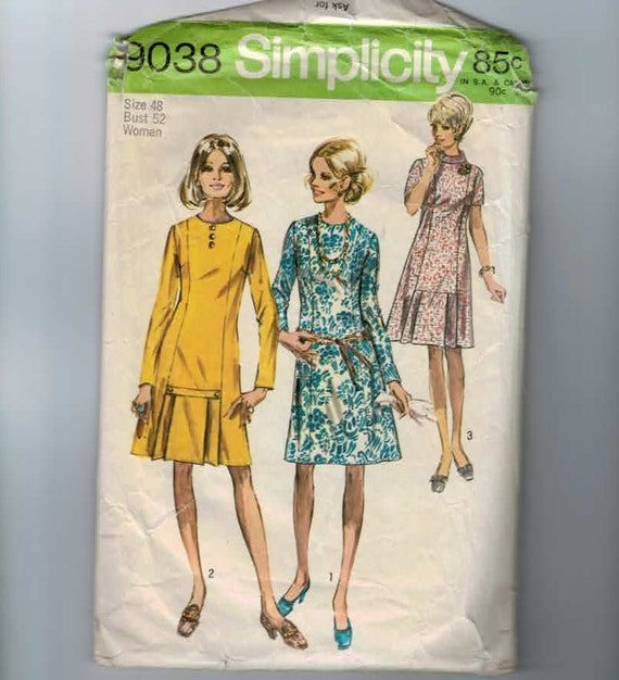 1970s Vintage Sewing Pattern Simplicity 9038 Plus Size Dress Size 48 Bust 52 UNCUT 1970