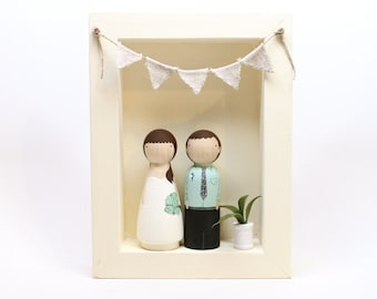 The Original Cake Toppers AND FRAME - Custom Wedding Cake Personalized Little Wooden People Wedding Gift // Goose Grease // wooden dolls