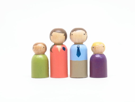 Wooden Peg Dolls The San Diego Family // Spring Colors // Ready to Ship - Heirloom Toy wooden people dolls