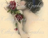 Large digital download Red Roses in Paris French lady vintage image Buy 3 Get one FREE